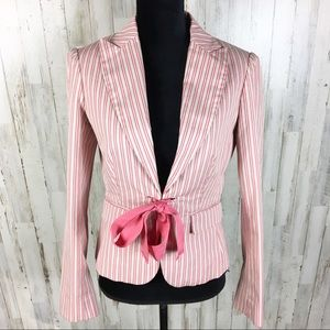 Moda International Pink Striped Tie Bow Blazer VS